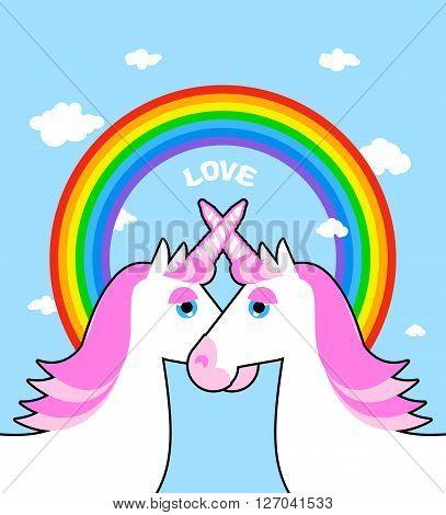 Two Pink Unicorn And Rainbow Love. Symbol Of Lgbt Community. Fantastic Animal Symbol Of Homosexual L