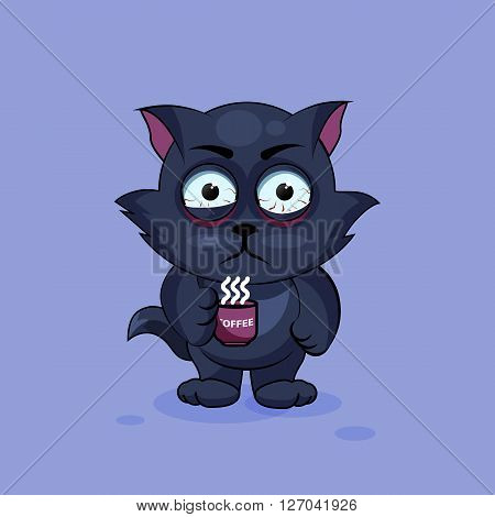 Vector Stock Illustration isolated Emoji character cartoon black cat nervous with cup of coffee sticker emoticon for site, infographics, video, animation, websites, e-mails, newsletters, reports, comics