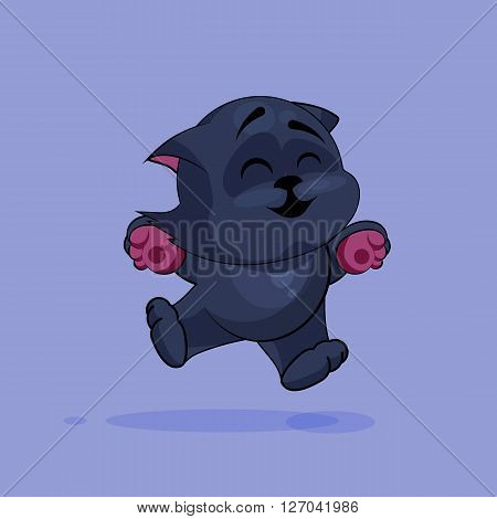 Vector Stock Illustration isolated Emoji character cartoon black cat jumping for joy, happy sticker emoticon for site, infographics, video, animation, websites, e-mails, newsletters, reports, comics