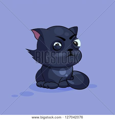 Vector Stock Illustration isolated Emoji character cartoon black cat squints and looks suspiciously sticker emoticon for site, infographics, video, animation, websites, e-mails, newsletters, reports, comics