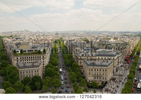 Paris View From The Top Of Arc De Triomphe