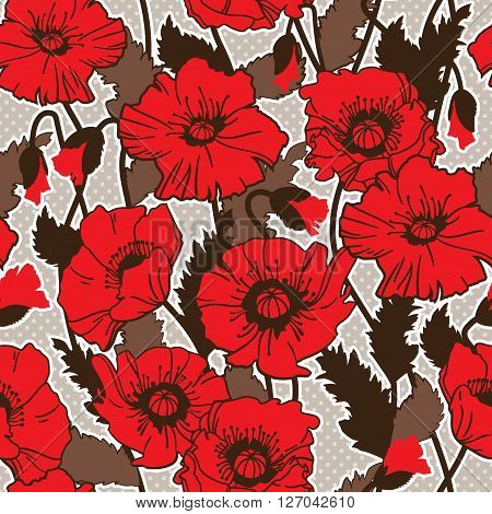 Papaver rhoeas also known as corn poppy, corn rose, field poppy, Flanders poppy drawing. seamless pattern