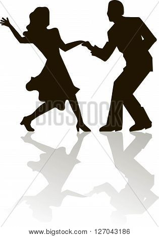 Black outlines figures of dancing man and women on white, grey shadow, swing, dancing, vector