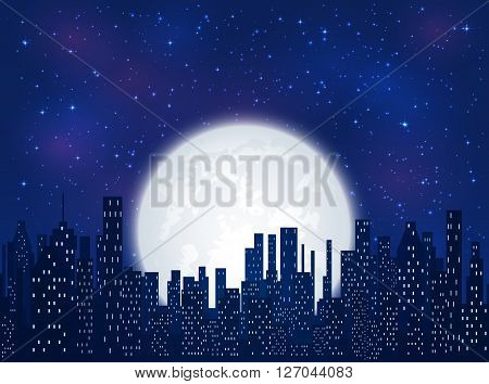 Night in the city, shining stars and Moon on blue sky background, illustration.