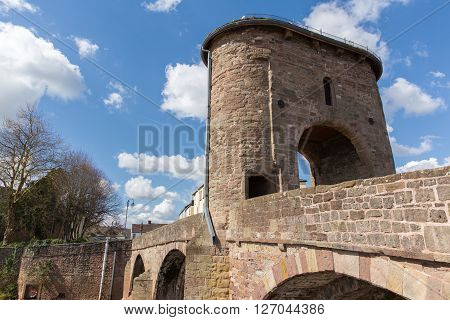 Wye valley tourist attraction Monnow bridge Monmouth Wales uk historic medieval structure