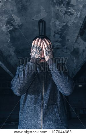 Worried Man With Hands On Head