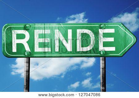 Rende road sign, on a blue sky background