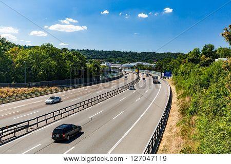 Views Of The Motorway A1 Near The Baregg, Switzerland