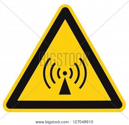 Non-ionizing radiation hazard safety area danger warning sign sticker label large icon signage isolated black triangle over yellow macro closeup