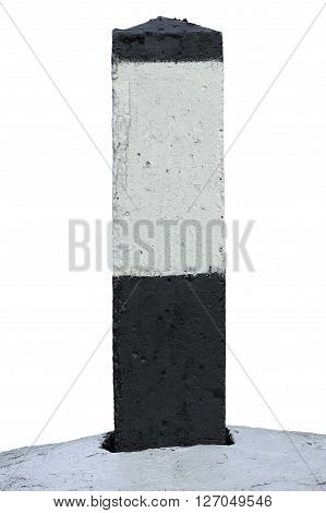 Railroad Route Rail Line Mile Marker In Black And White Blank Empty Isolated Railway Distance Kilometer Milestone Mark Close-up Grunge Old Weathered Aged Painted Concrete Roadside Kilometre Sign Large Detailed Grungy Vertical Paint Closeup Copy Space