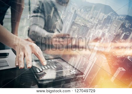 Finance working process.Double exposure photo woman showing business reports modern tablet, diagram screen.Banker manager holding pen for signs document, discussion startup idea.Horizontal.