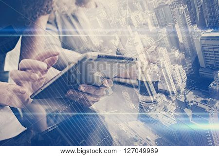 Investment department work process.Double exposure photo woman showing report modern tablet, statistics graphic screen.Private banker manager holding pen for signs document.New business startup