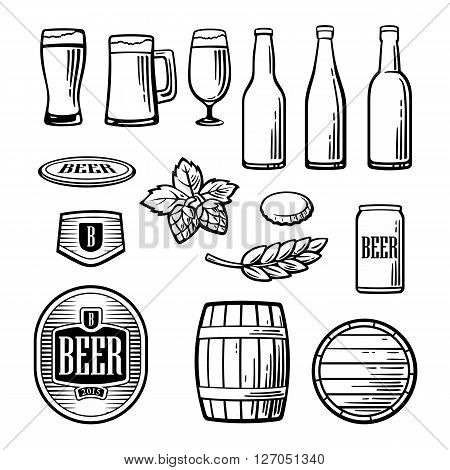 Beer vector flat icons set - bottle glass barrel pint barle malt cover label. Vintage illustration. For Emblem Logo web info graphic