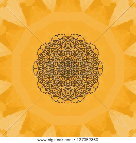 Hand-drawn mandala flower. Elegant mandala-like pattern on yellow seamless watercolor texture. Ornamental round seamless lace pattern. Abstract vector tribal ethnic yoga yantra background seamless motif.
