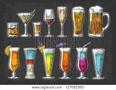 Set glass beer, whiskey, wine, tequila, cognac, champagne, cocktails. Vintage vector engraving illustration for web, poster, menu, invitation to summer beach party. Isolated on dark background.