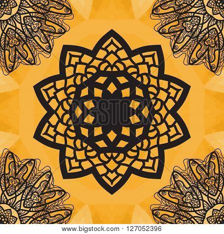 Yoga Ornament, kaleidoscopic floral  yantra. Indian Art Print. . Seamless ornament lace. Oriental vector pattern. Islamic, Arabic, Indian, Turkish, Pakistan, Chinese, Asian, Moroccan, Ottoman motifs. Mandala outlined.
