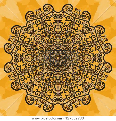 Mandala-like open-work on seamless texture. Hand-drawn new-age pattern round lace pattern. Abstract vector tribal ethnic yoga yantra background seamless tile on henna color watercolor background.