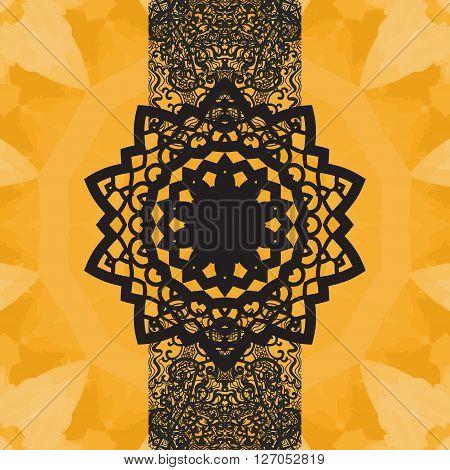 Indian Yoga Ornament, kaleidoscopic floral pattern, yantra in center. Seamless ornament lace.Oriental vector pattern. Islamic, Arabic, Indian, Turkish, Pakistan, Chinese, Asian, Moroccan, Ottoman motifs. Mandala-like design