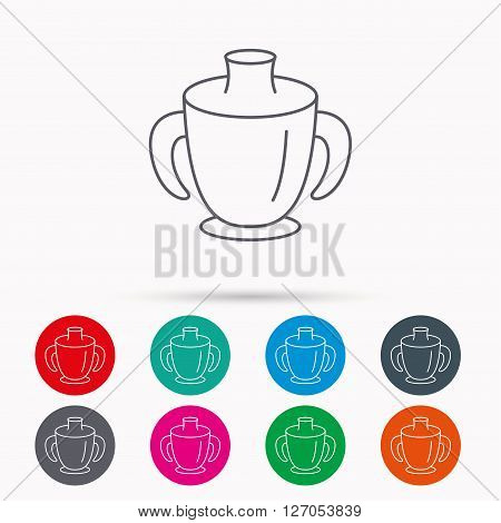 Toddler spout cup icon. Baby mug sign. Flip top feeding bottle symbol. Linear icons in circles on white background.