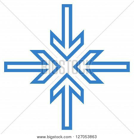 Implode Arrows vector icon. Style is contour icon symbol, cobalt color, white background.