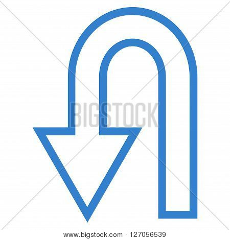 Turn Back vector icon. Style is outline icon symbol, cobalt color, white background.