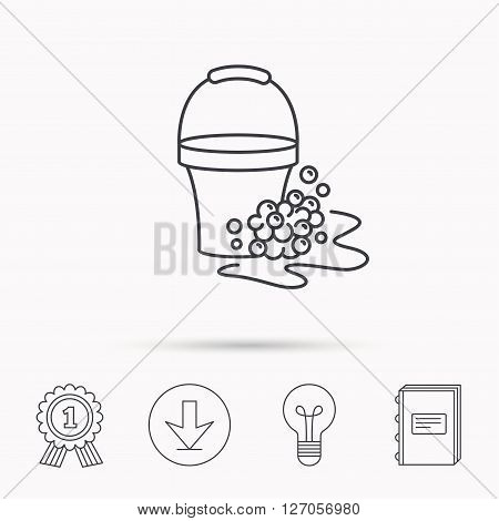 Soapy cleaning icon. Bucket with foam and bubbles sign. Download arrow, lamp, learn book and award medal icons.