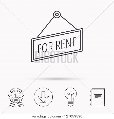 For rent icon. Advertising banner tag sign. Download arrow, lamp, learn book and award medal icons.