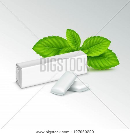 Pack of Chewing Gum with Fresh Mint Leaves Isolated on White Background