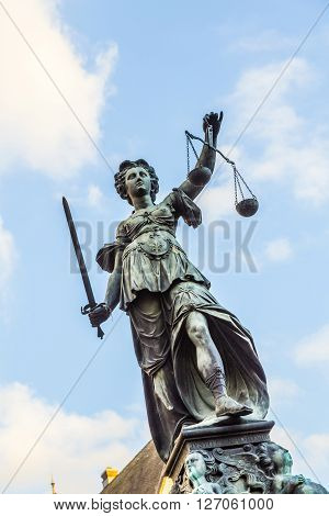 Justitia - Lady Justice - Sculpture On The Roemerberg Square In Frankfurt