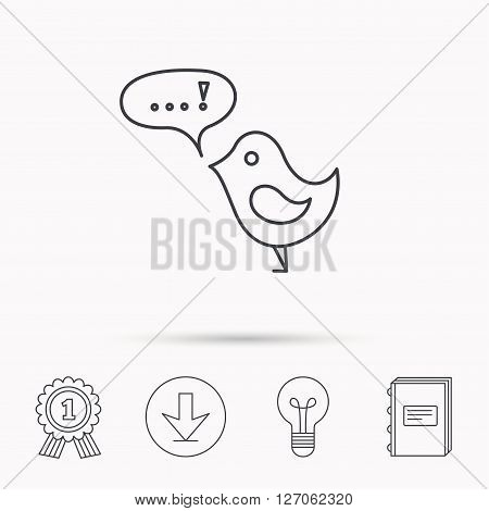 Bird with speech bubble icon. Chat talk sign. Cute small fowl symbol. Download arrow, lamp, learn book and award medal icons.