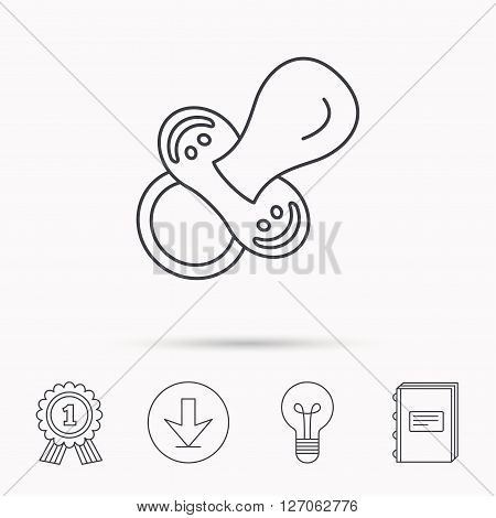 Pacifier icon. Nipple or dummy sign. Newborn child relax equipment symbol. Download arrow, lamp, learn book and award medal icons. poster