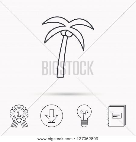 Palm tree with coconuts icon. Travel or vacation symbol. Nature environment sign. Download arrow, lamp, learn book and award medal icons.