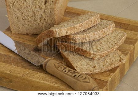 A loaf of fresh homemade wholemeal bread.