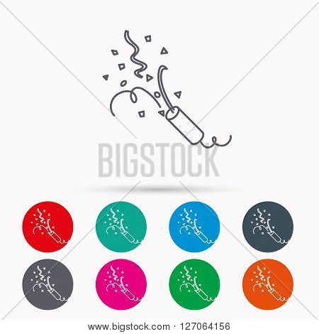 Shooting slapstick icon. Celebration sign. Linear icons in circles on white background.