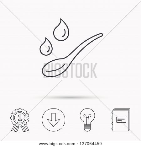 Spoon with water drops icon. Baby medicine dose sign. Child food symbol. Download arrow, lamp, learn book and award medal icons.