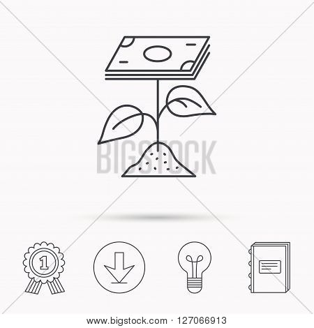 Profit icon. Money savings sign. Flower with cash money symbol. Download arrow, lamp, learn book and award medal icons.
