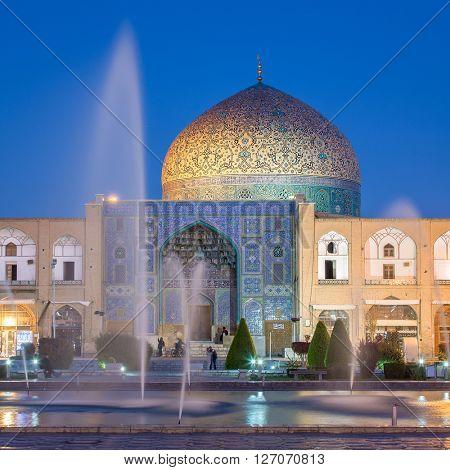 Sheikh Lotfollah Mosque at Naqhsh-e Jahan Square in Isfahan, Iran. Night shot.