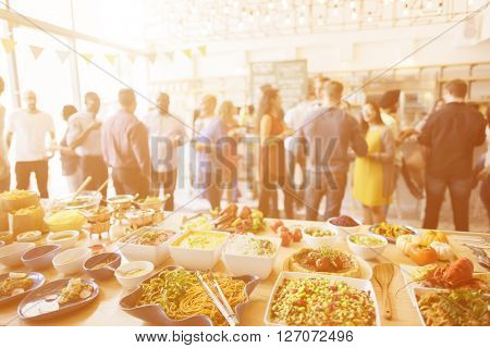 Brunch Choice Crowd Dining Food Options Eating Concept poster