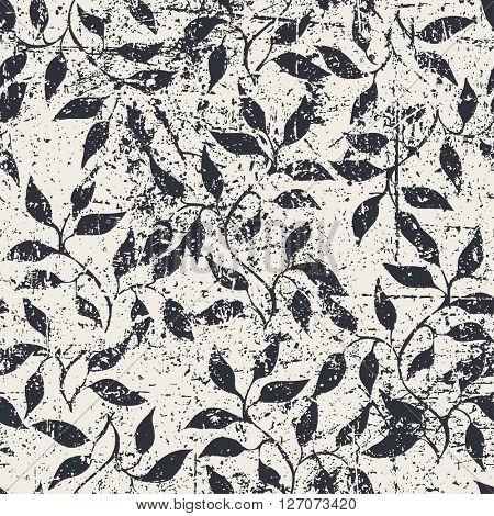 Threadbare abstract floral hand drawn seamless pattern, vector illustration