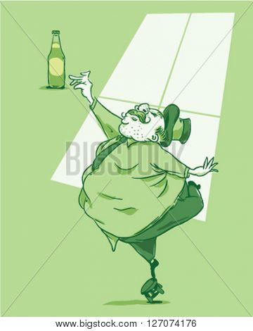 Fat guy trying to grab a beer standing on a bench - style vector illustration isolated on green background - Sign
