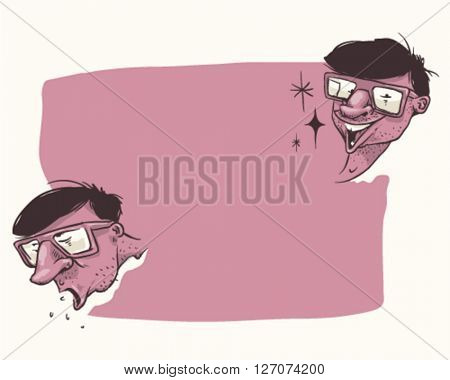 Two funny guys faces with sunglasses on a blank sign- style vector illustration isolated on purple background - Sign