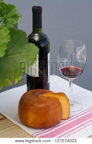 Cheese Wheel And Slice Malbec Wine Bottle