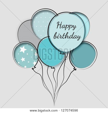 Greeting card with balloons birthday a man