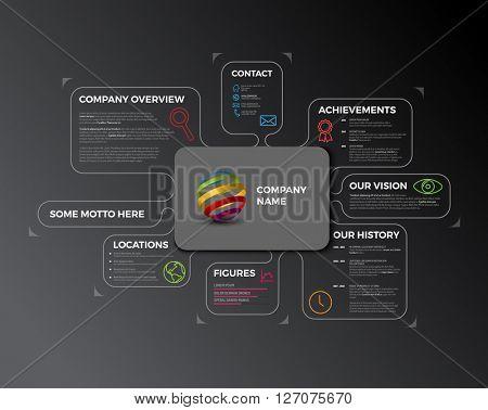 Vector Company infographic overview. Company profile design template - dark version