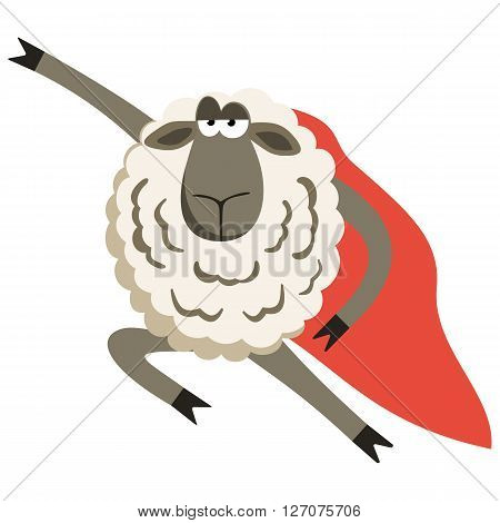 Stubborn Lamb superhero with red cloak. Sheep professional character. Vector illustration of stubborn super hero isolated on white.