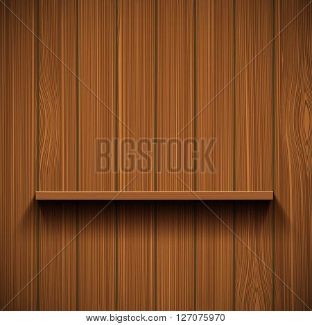 Empty wooden shelf for tools. Rustic background. Stock vector illustration.