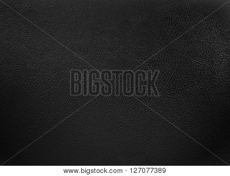 close up black colored leather texture background.