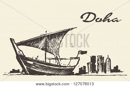 Doha skyline with Dhow Qatar vector illustration hand drawn sketch