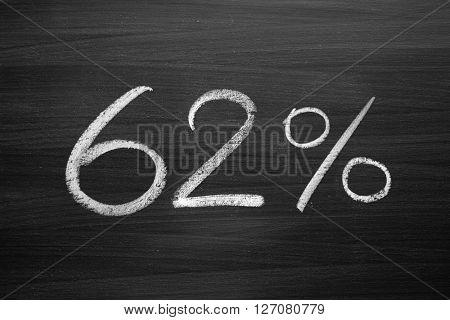 62 percent header written with a chalk on the blackboard