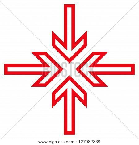 Implode Arrows vector icon. Style is outline icon symbol, red color, white background.